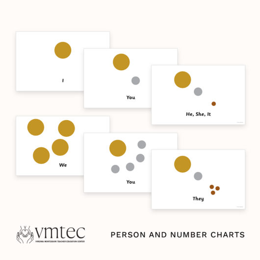 The Montessori Person and Number Charts from Michael Dorer at VMTEC