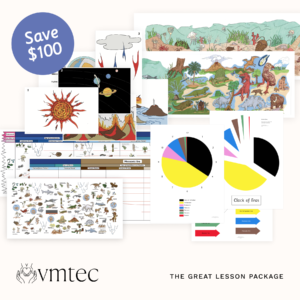The great lesson package with timeline of life, mural of life, clock of eras, and geography impressionistic charts for montessori cosmic curriculum